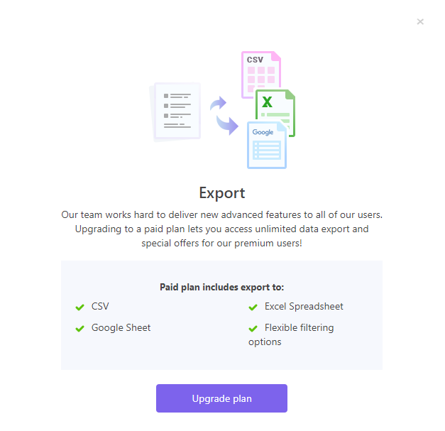 Exportinf features of Snovio email finder and verifier