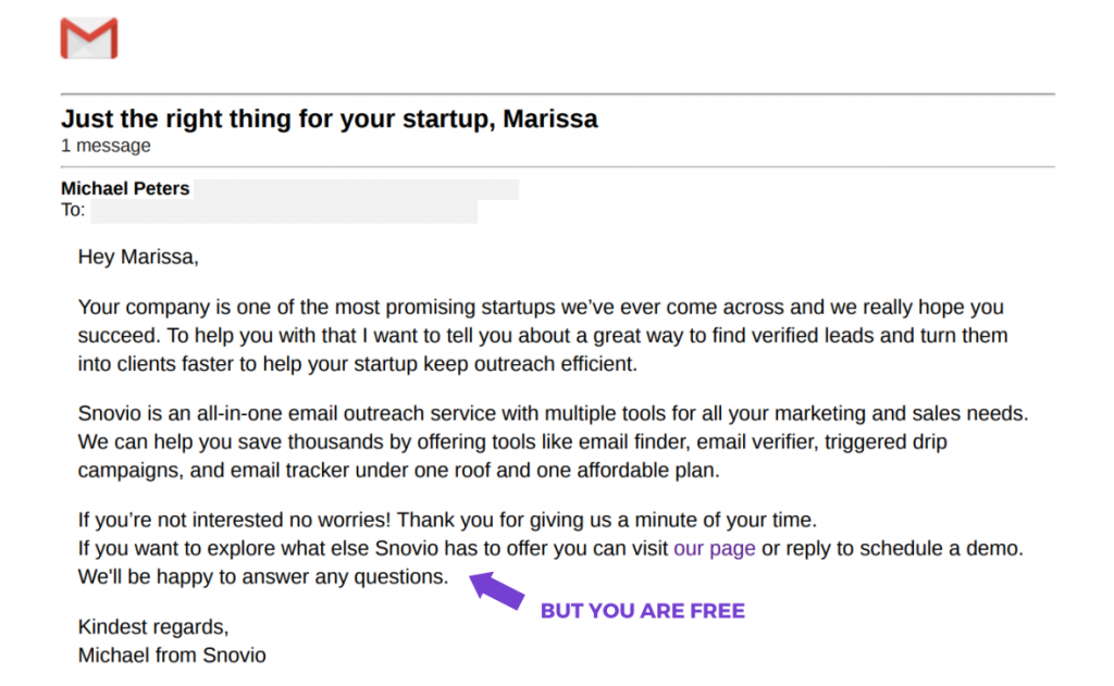 But You Are Free email formula