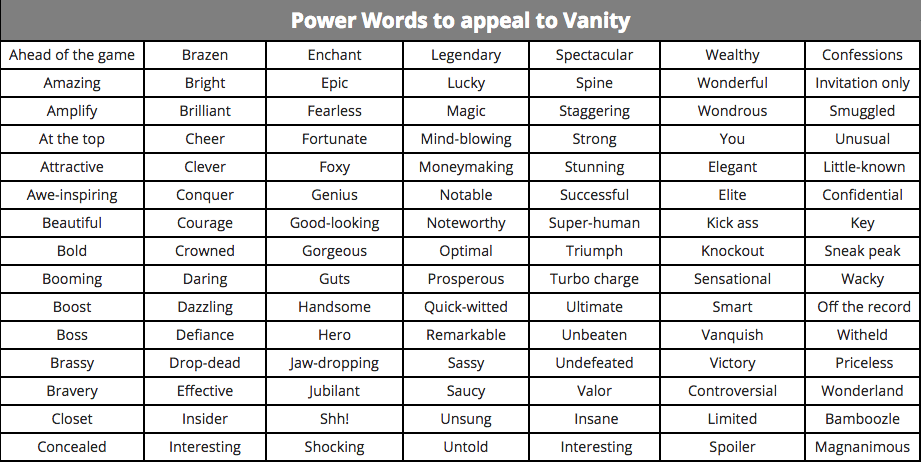 Power words to appeal to vanity
