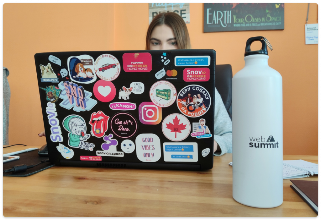 The numerous stickers we've collected and Web Summit's own merch
