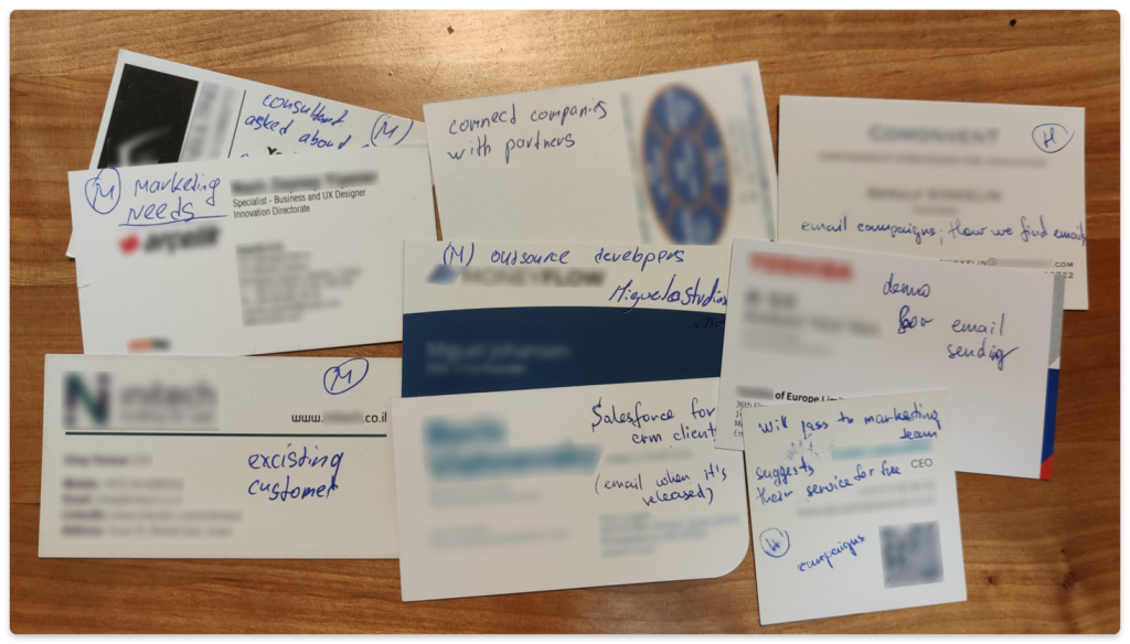 How our Customer Success Manager Maksym tracks leads' cards collected at conferences