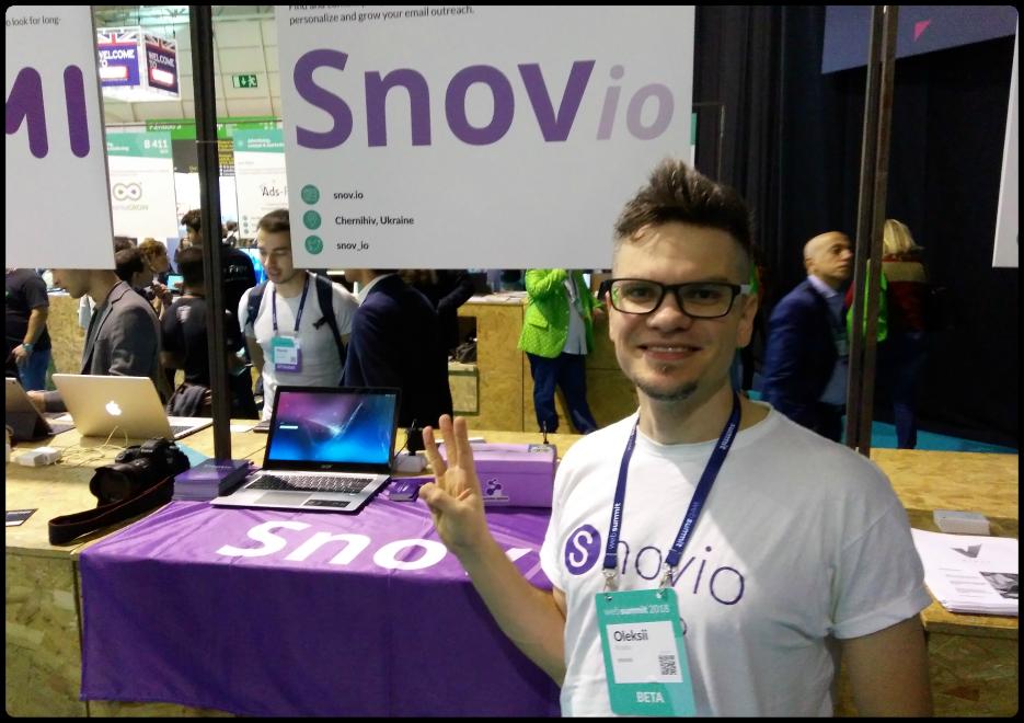 Snov.io booth at Web Summit last year