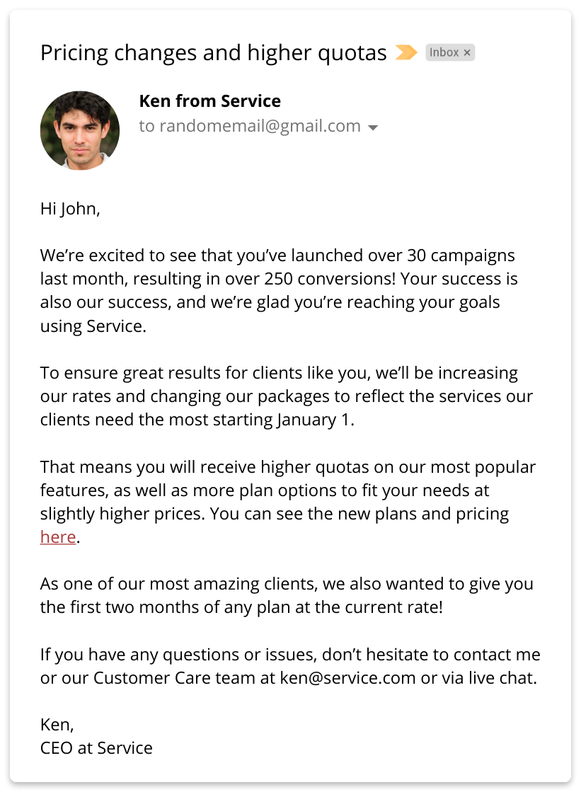 price increase email letter example