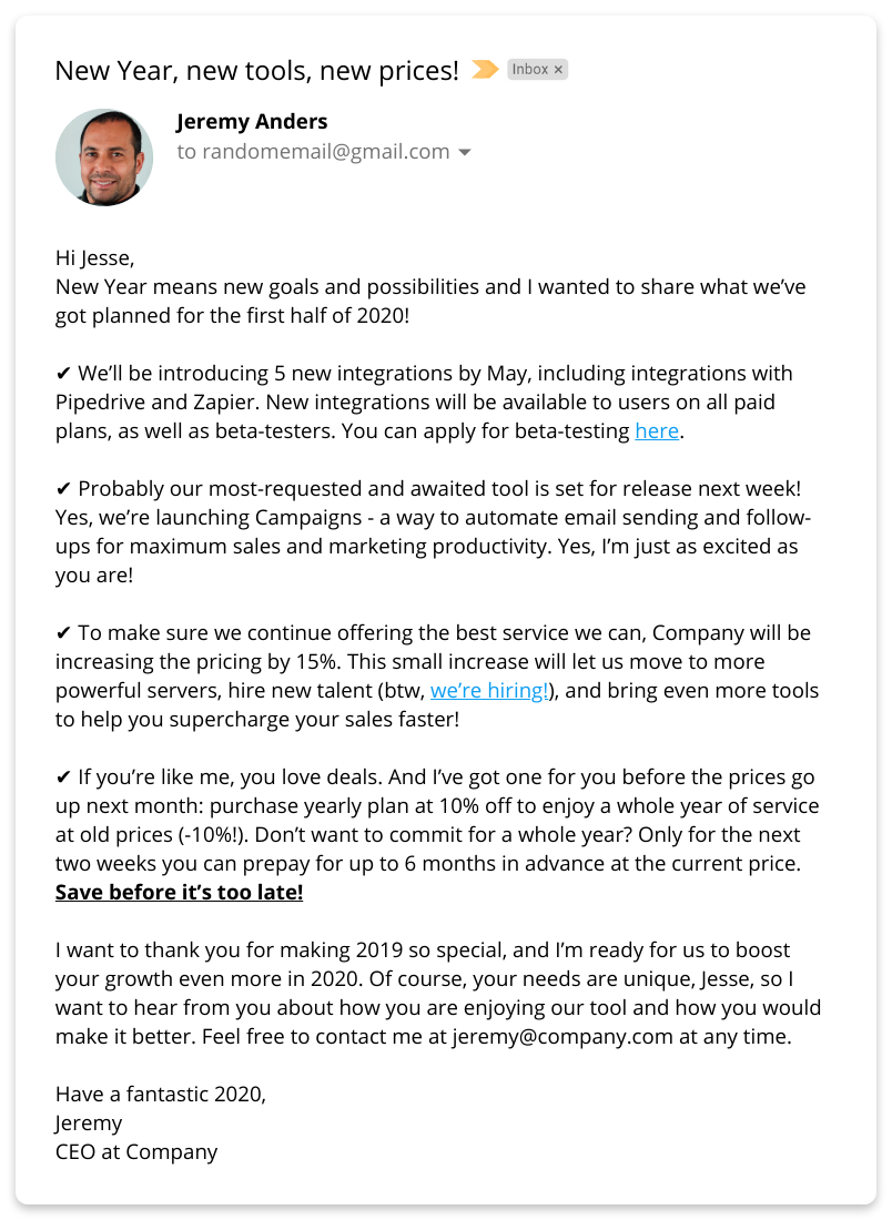 Letter To Customers Announcing Change In Management from snov.io