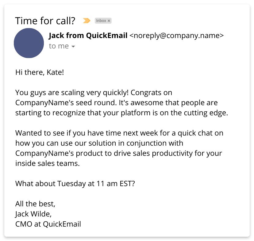 Personalized email example