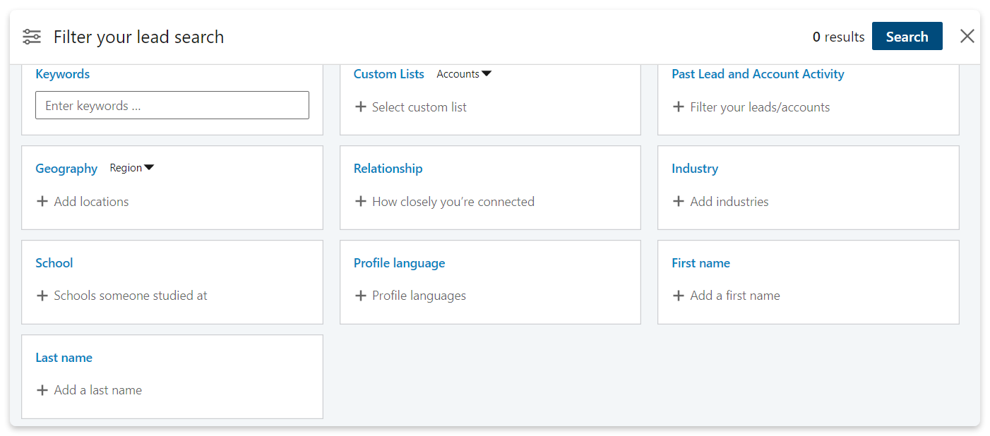 Filter your search in Sales Navigator