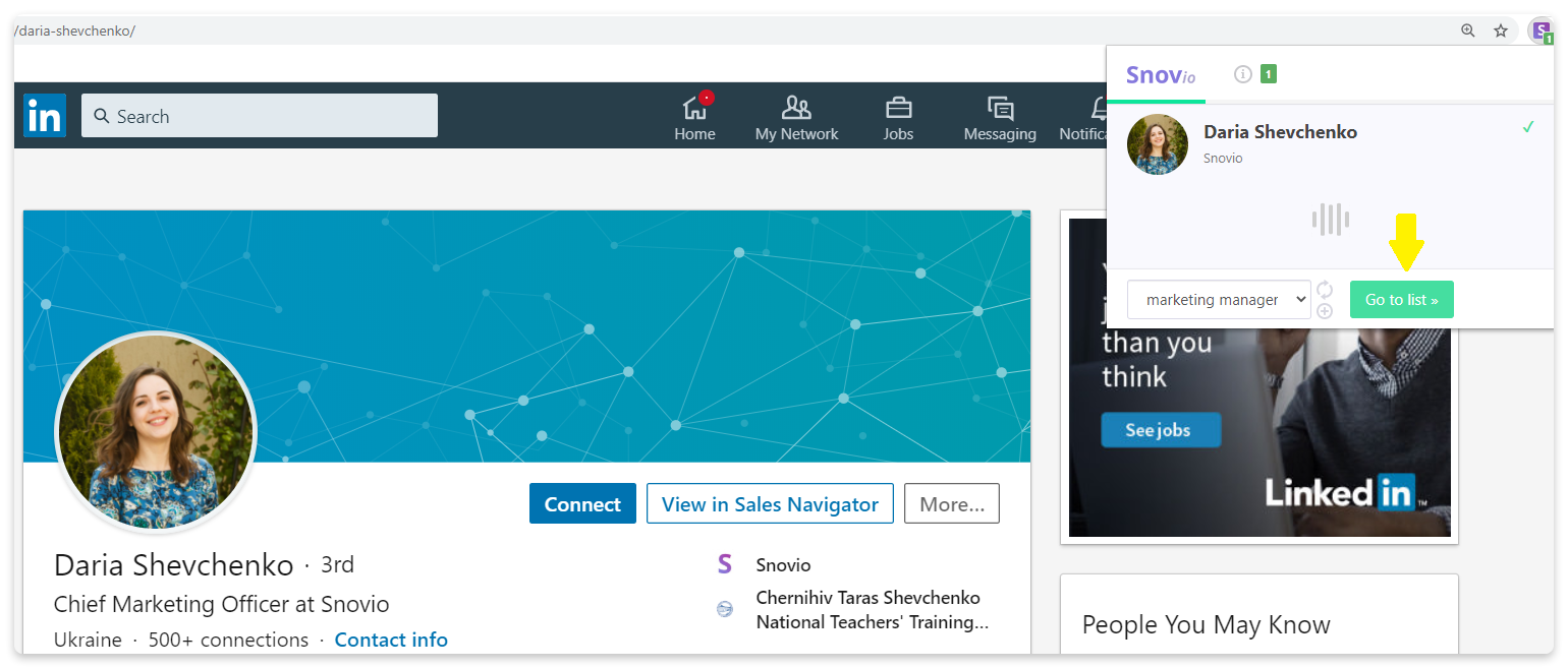 How to find emails on a person's LinkedIn profile page