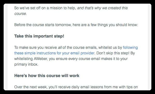 Whitelisting email example