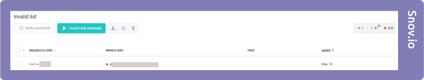 Snov.io invalid list test results
