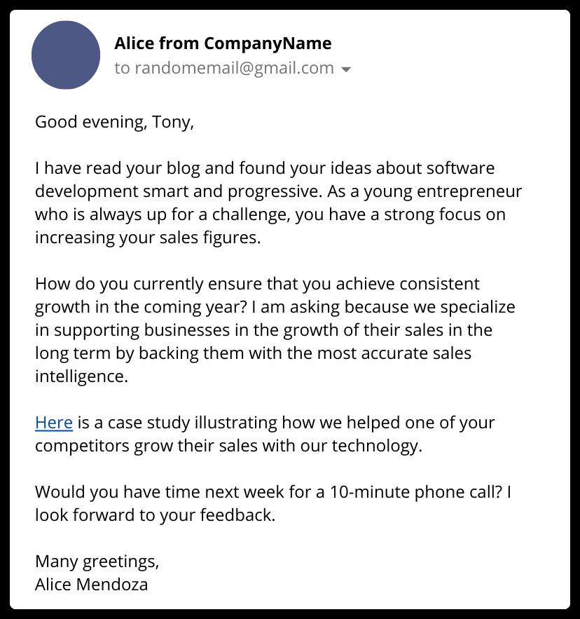 BASHO email example