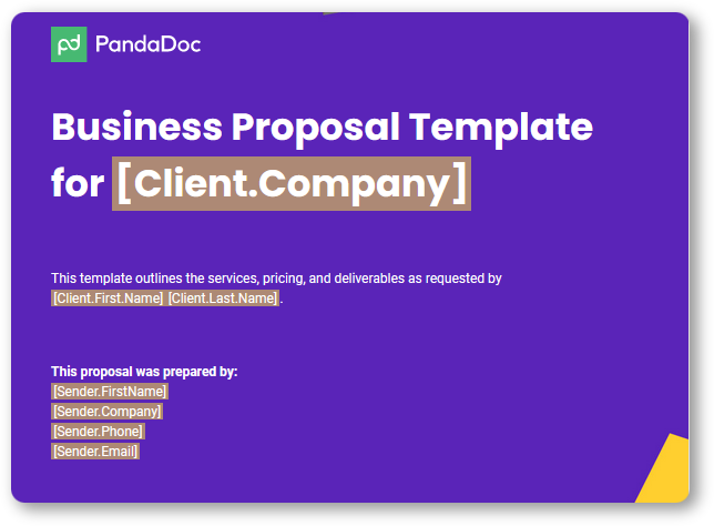 Example of business proposal title page (Source: PandaDoc)