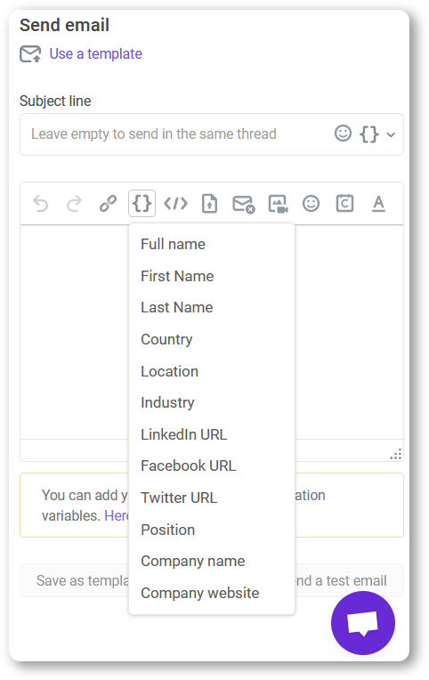 email variables