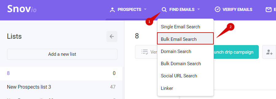 bulk email search