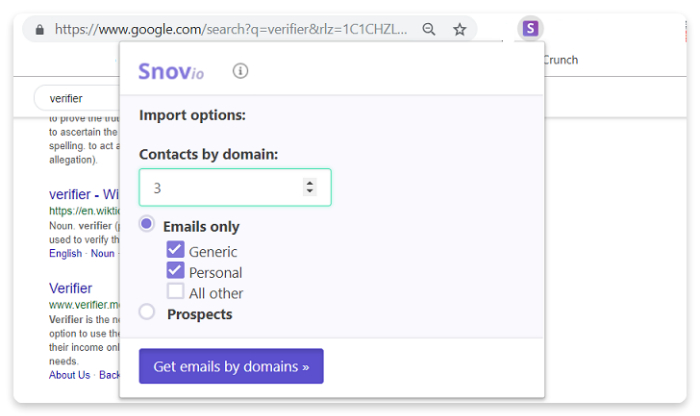Snov io - How to find emails on a search engine results page