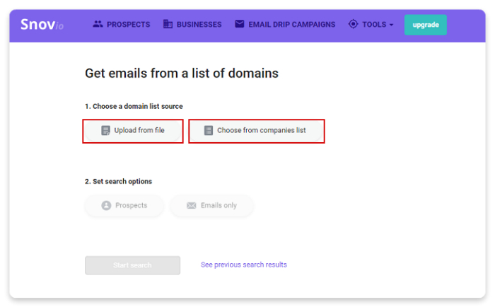 Snov io - How to get email addresses from a list of domains