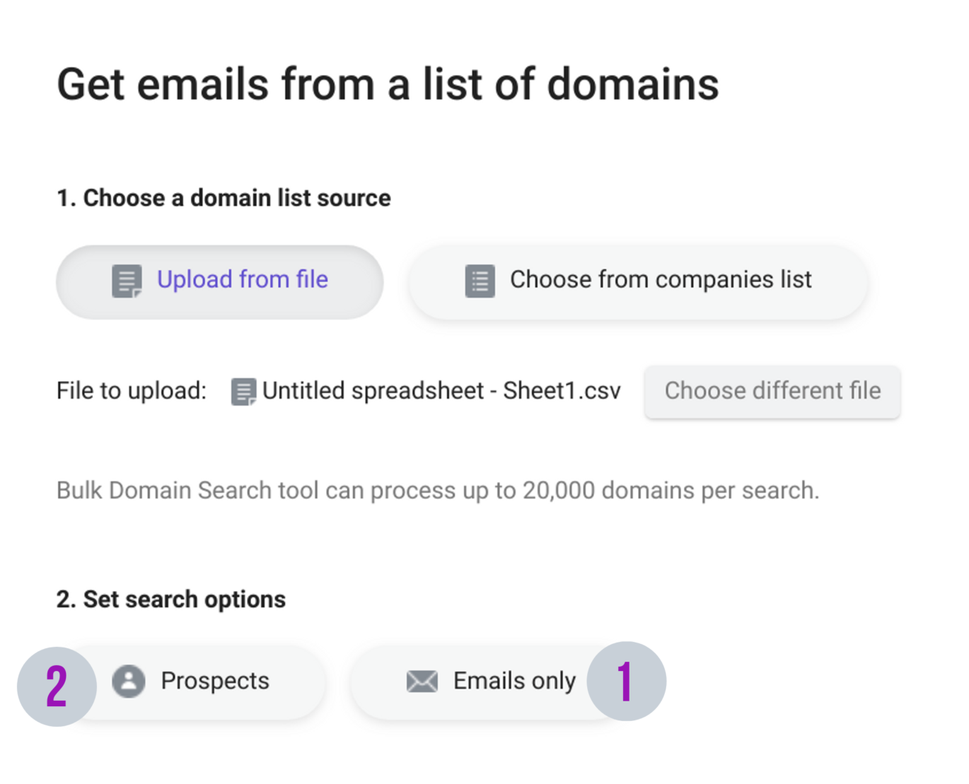 Bulk domain search
