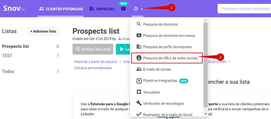 Como obter contatos de e-mail de uma lista de links para perfis de redes sociais