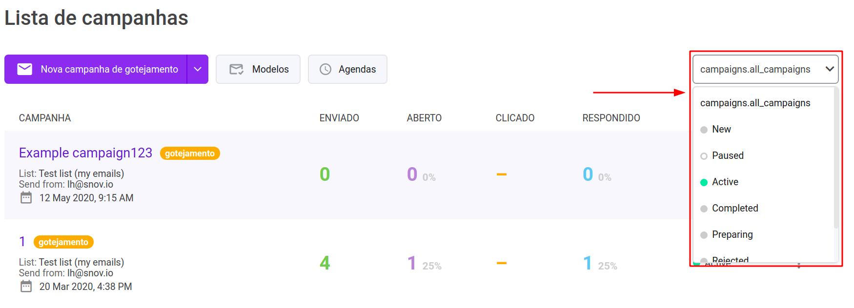Como enviar campanhas de e-mail acionadas automaticamente com o Snov.io