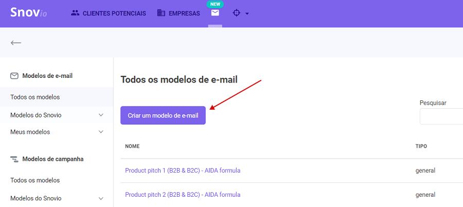 Como criar e usar modelos do Snov.io