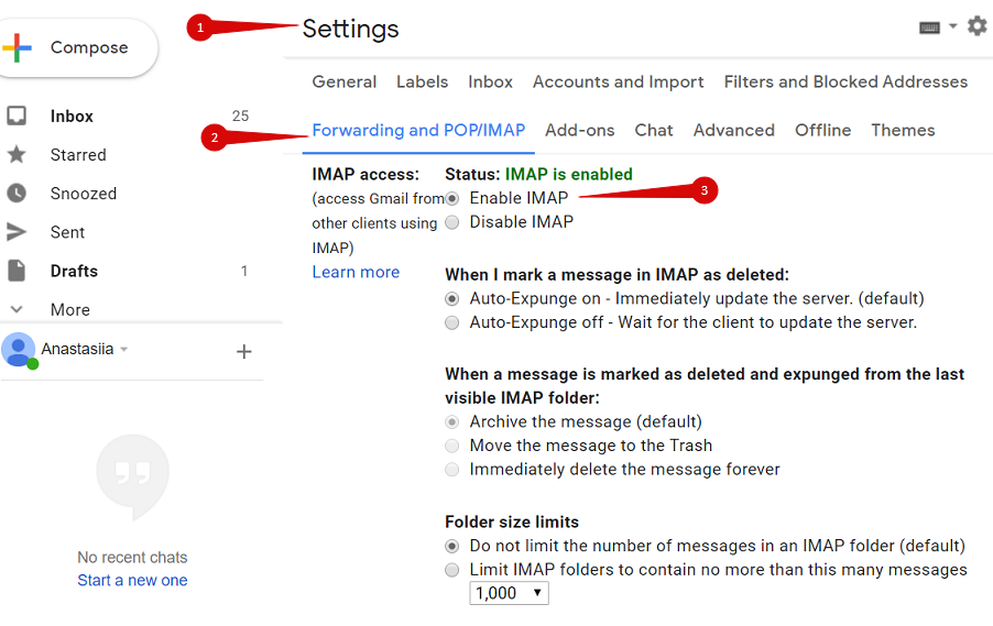 Enable IMAP in your Gmail account settings
