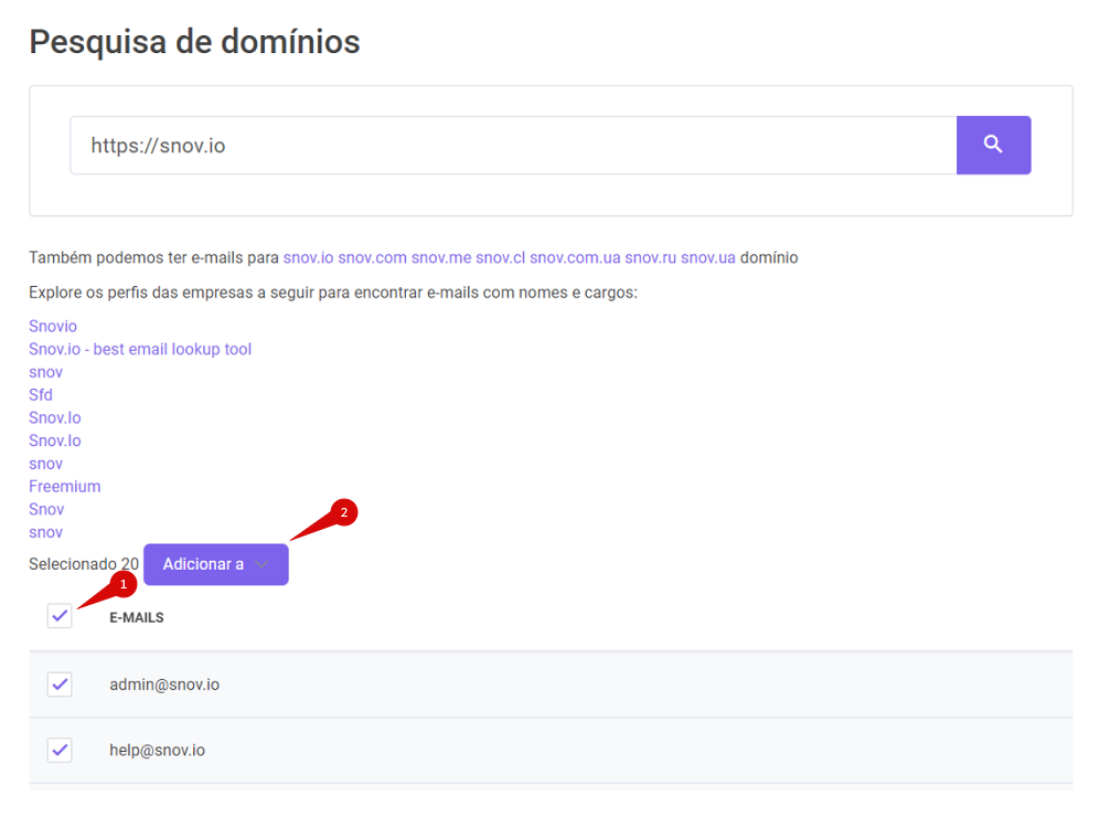 Como usar a ferramenta Pesquisa de domínios