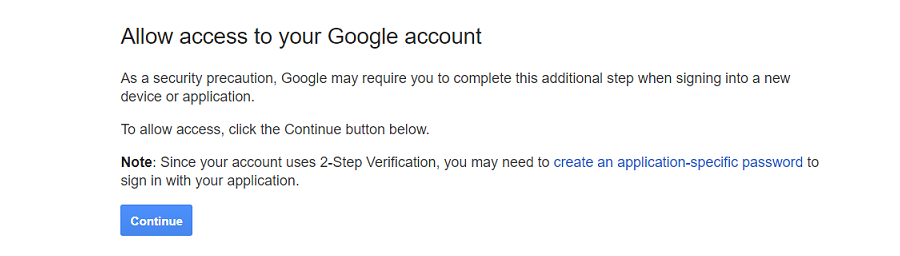 Allow access to your Google account