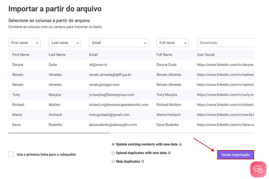 Como importar uma lista de clientes potenciais para a sua conta do Snov.io