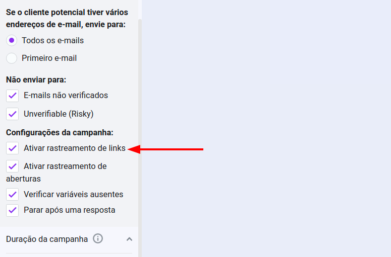 Enable link tracking