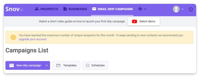 Limites e status da ferramenta de Campanhas de gotejamento por e-mail