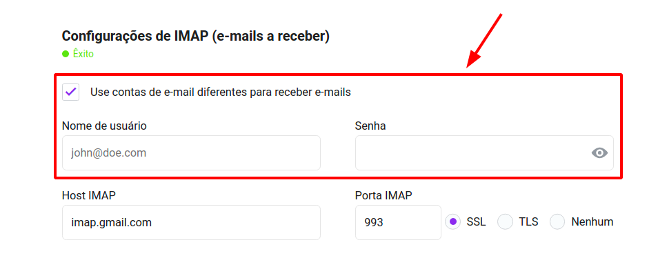 Use a different email account for receiving emails