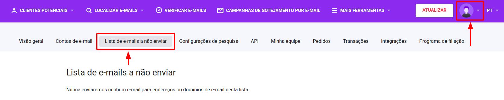 Como adicionar contatos à Lista de e-mails a não enviar